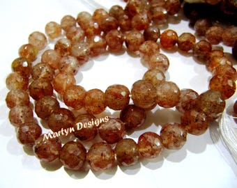 """SALE- Genuine Rutilated Quartz 8-9mm Size Beads , High Quality Copper Rutilated Gemstone Beads , Length 10 to 11"""" , Faceted Ball Shape Beads"""