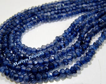 "AAA Quality Natural Iolite Beads , Rondelle Faceted Gemstone Beads , 3 to 4mm Size Israel Cut Iolite Beads , Sold per Strand 13 to 14"" long"