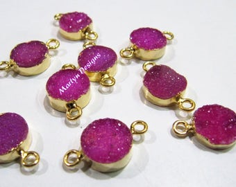 Top Quality Druzy Connector 24 Kt Gold Electroplated , Natural Hot Pink Color Drusy Round Connectors , 10mm Double Loop Bezel Sold per Piece