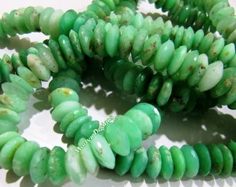 Best Quality Genuine Chrysoprase Faceted Gemstone Beads , German Cut Rondelle Shape 11mm Chrysoprase Beads , Strand 8 inch , Graduated Beads