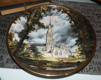 Mid-century (c.1960s) Lord Nelson Pottery decorative | cabinet plate of the Bishop's grounds at Salisbury Castle by artist John Constable.