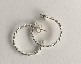 Solid Silver Hoop Earrings. Sterling Silver Earrings. Hoop Earrings. Handmade Earrings. Designer Earrings.