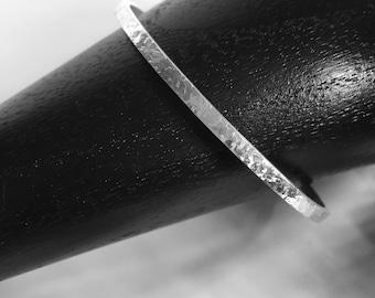 Solid Sterling Silver Bangle with Hammered Finish. Handmade Silver Bangle. Stacking Bangle. Silver Bracelet. 925 Silver Bangle. Designer