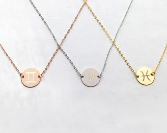 Custom Engraved Necklace: Zodiac Sign Necklace, Astrology Necklace, Coin Pendant Necklace, Personalized Necklaces, Delicate Necklaces