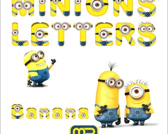 Minions Alphabet clip art. Digital clip art can be used as graphic design elements or printable craft and scrapbooking embellishments
