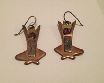 Sterling Silver, Brass, Copper & Red Garnet Cabochon Dangle Earrings