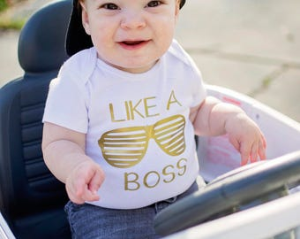 Like a Boss-- Like a Boss Shirt, Baby Girl Clothes, Baby Boy Clothes, Baby Shower Gift, Gangster Baby, Gangsta Baby, Like A Boss Tshirt
