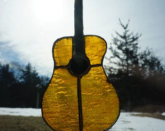 Stained Glass Guitar Suncatcher
