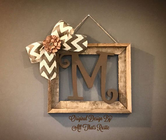 barnwood rustic home decor frame with initial rustic home decor rustic decor rustic