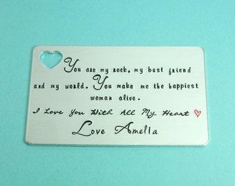Personalised Gift | Wallet Insert | Message Card | Heart/Star/Cross/Plain | Hand Stamped | Bespoke | Letter | UK