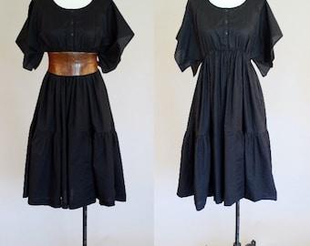 Vintage 1980's Black Peasant Style Dress