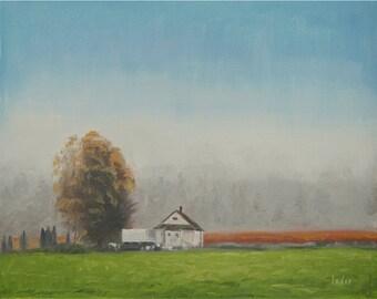 Original oil painting - Farmhouse Painting, Nature Art, Handmade art, Field Painting