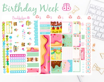Birthday Week | Planner Stickers | Weekly Planner Sticker Set | Birthday Sticker Set