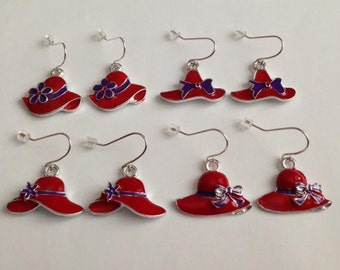 Hat Earrings, Red and Purple Hats, Red and Purple Jewelry, Red Earrings, Red and Purple Jewelry, Ships From USA