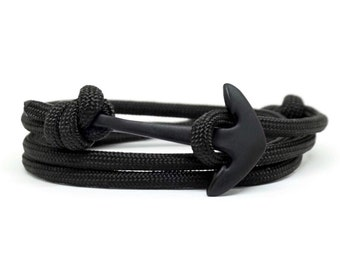 Black & Black, Rope Bracelet, Anchor Bracelet, Men's Bracelet, Women's Bracelets. Paracord Bracelet.
