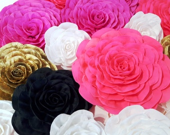 10 large Paper Flowers Giant flowers bridal kate baby shower spade wedding backdrop Paper wall arch Gatsby hot pink gold White black nursery