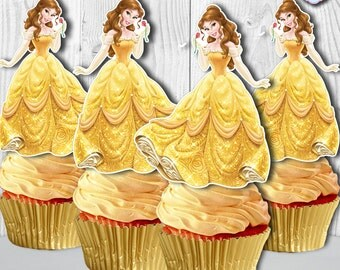 Princess Belle Cupcake Toppers, Beauty and the Beast Cupcake Toppers, Belle Cupcake Picks, DIY Printable, INSTANT DOWNLOAD