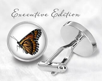 Monarch Butterfly Cufflinks - Butterfly Cuff Links - Golden Butterfly Cufflink (Pair) Lifetime Guarantee (S0553)
