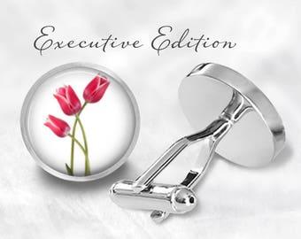 Tulip Cufflinks - Tulips Cufflinks - Flower Cuff Links - Pink Tulips - Flower Jewelry (Pair) Lifetime Guarantee (S0727)
