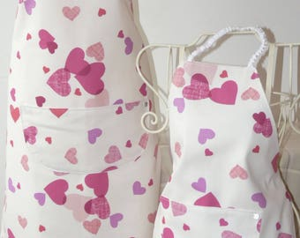 childs apron, pink heart design, in suitcase gift box with accessories