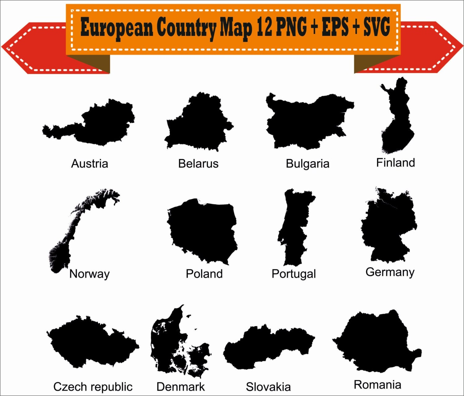 European Country Map Germany Bulgaria Poland Silhouette Vector - Germany map eps