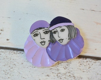 Original Vintage Plastic Novelty Brooch Featuring Two Deco Style Ladies