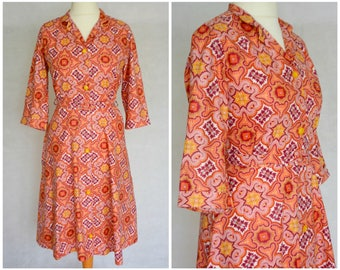 Vintage Retro 1970s Paisley Cotton Shirt Dress size UK 10 12 S M