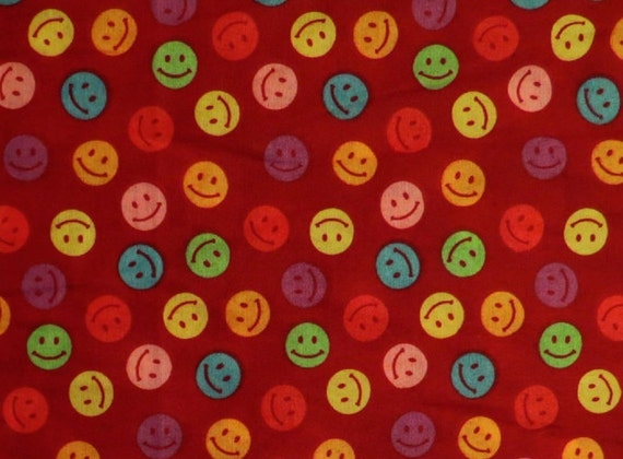 Smiley face emoji on polycotton blend red fabric by the yard for Emoji fabric