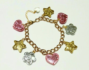 kawaii bracelet, resin, charm, star, pink, gold, lolita, pop kei, fairy kei, heart,