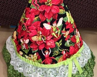 Christmas Tree Skirt with Fairies and  poinsettias