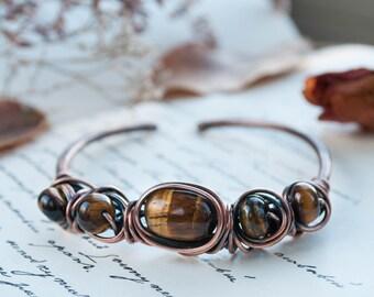 Brown bracelet, tiger eye bracelet, copper bracelet, gemstone bracelet, wire wrap bracelet, copper jewellery, copper wire bracelet,