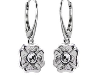 Sterling Silver Leverback Earrings Clover Clear Crystal Swarovski Crystals