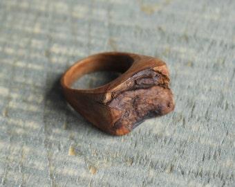 Ring in Maple wood, bark, rustic, hypoallergenic