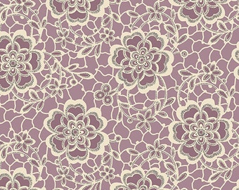 Downton Abbey The Women's Collection Dowager Countess Floral Purple 7319 P by Andover Fabrics