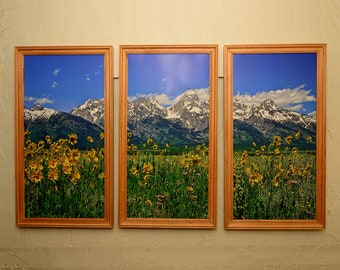 Grand Teton National Park Tetons Peaks & Flowers Triptych, Modern Wall Art With Fine Art Nature Photography From The Tetons, Jackson Hole