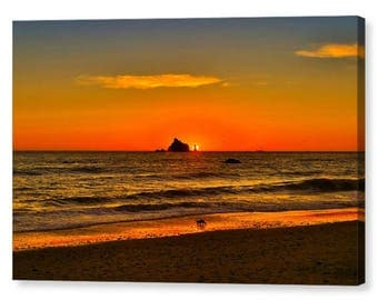 Olympic National Park Pacific Sunset Stretched Canvas Print, Modern Wall Art, Rialto Beach Sunset, Seashore Art From The Olympic Peninsula