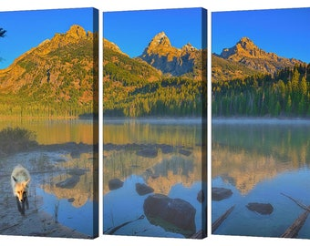 Taggart Lake Dawn Triptych Set From Grand Teton National Park, Modern Wall Art From The Tetons,  Jackson Hole Wyoming