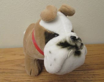 Vintage Dakin Bulldog Plush Stuffed Animal Red Collar White Tan Puppy Dog 1984