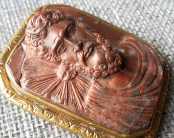 This is a very rare antique high relief god jesus christ agate stone