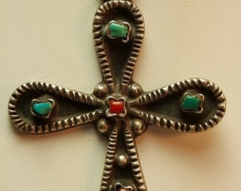 Turquoise Cross Taxco Mexico Sterling silver