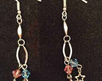 Pretty in Pink and Blue Star Dangle Earrings