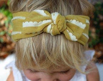 mustard yellow ruffle top knot headband