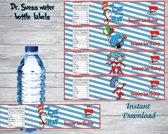 INSTANT DOWNLOAD-Dr Seuss water bottle labels,    Dr. Seuss, Cat in the Hat, Dr. Seuss party, Dr Suess birthday