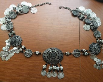 Silver coin tribal belly dance belt and necklace set