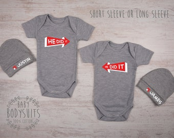 Twin Baby Boys, Twin Boy Outfits, HE DID IT Gray Set of 2 Baby Bodysuits & Baby Hats, Funny Twin Shirts, Funny Twin Gifts, Twin Boy Gifts