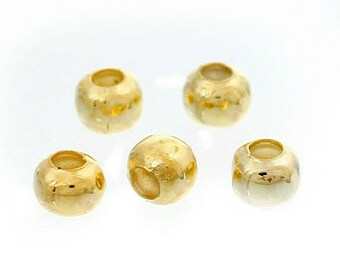 1000pcs 3MM Gold Plated Spacer Beads Small Ball Round Bead Beading Supplies Jewelry Findings Beads Supply Bright Gold