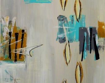 Funky mid-century modern art original painting mcm boomerang