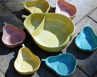 Wonderful Mid-Century Pfaltzgraff Pear Shaped Serving Bowl and Dish Set