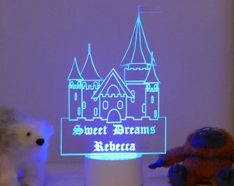 Princess Castle Night Light Personalised With Any Child's Name
