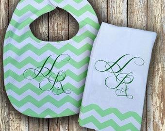 Prissy Monogrammed Baby Bib with matching Burp Cloth Set (Green)